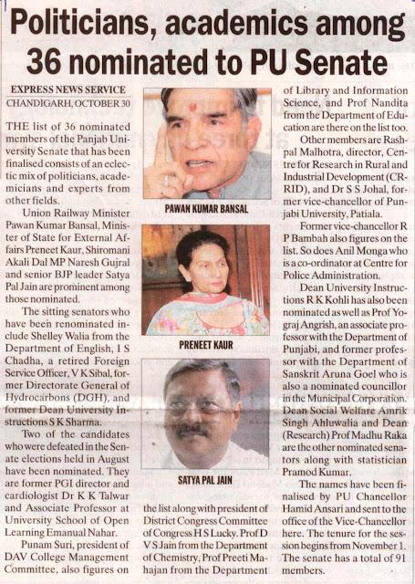 Senior BJP leader Satya Pal Jain are prominent among those nominated to PU Senate.