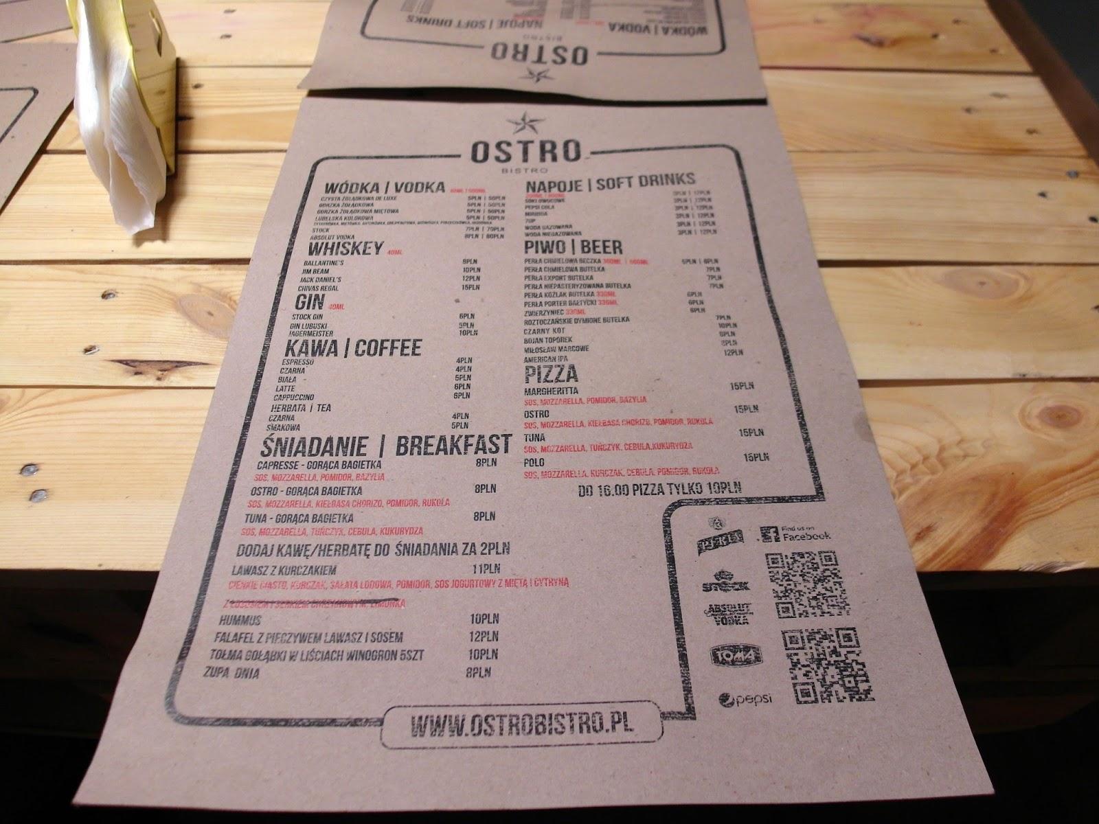 menu ostro bistro lublin