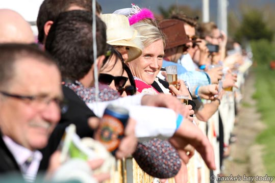 Lining up to watch race 9 at the Livamol Spring Classic Premier Raceday, at Hawke's Bay Racecourse, Hastings. photograph