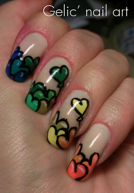 gelic' nail art rainbow heart