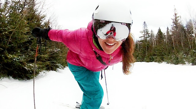 Gina checking GoPro