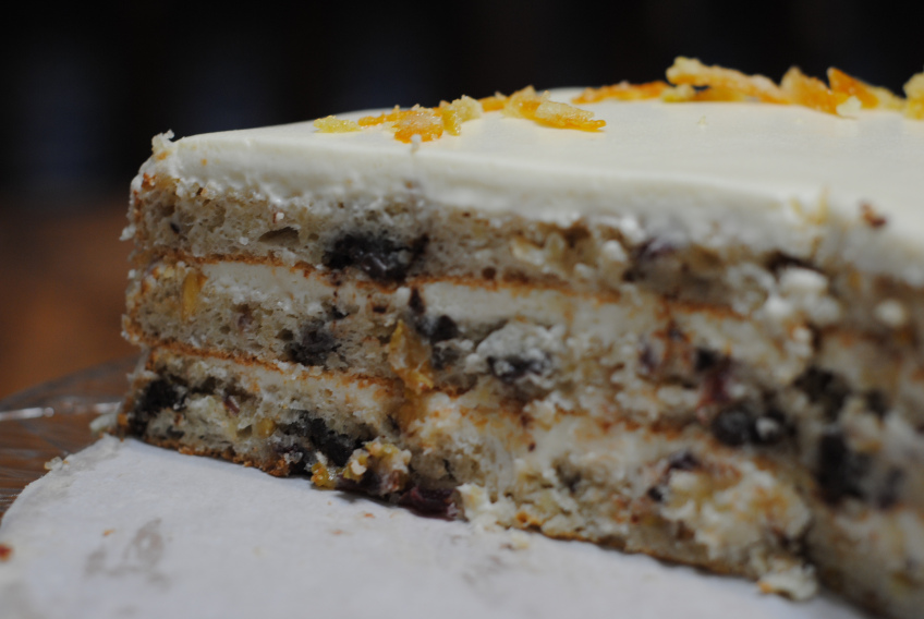 Layered Fruitcake Creme Fraiche Frosting | Healthy Bake Fruitcake ...