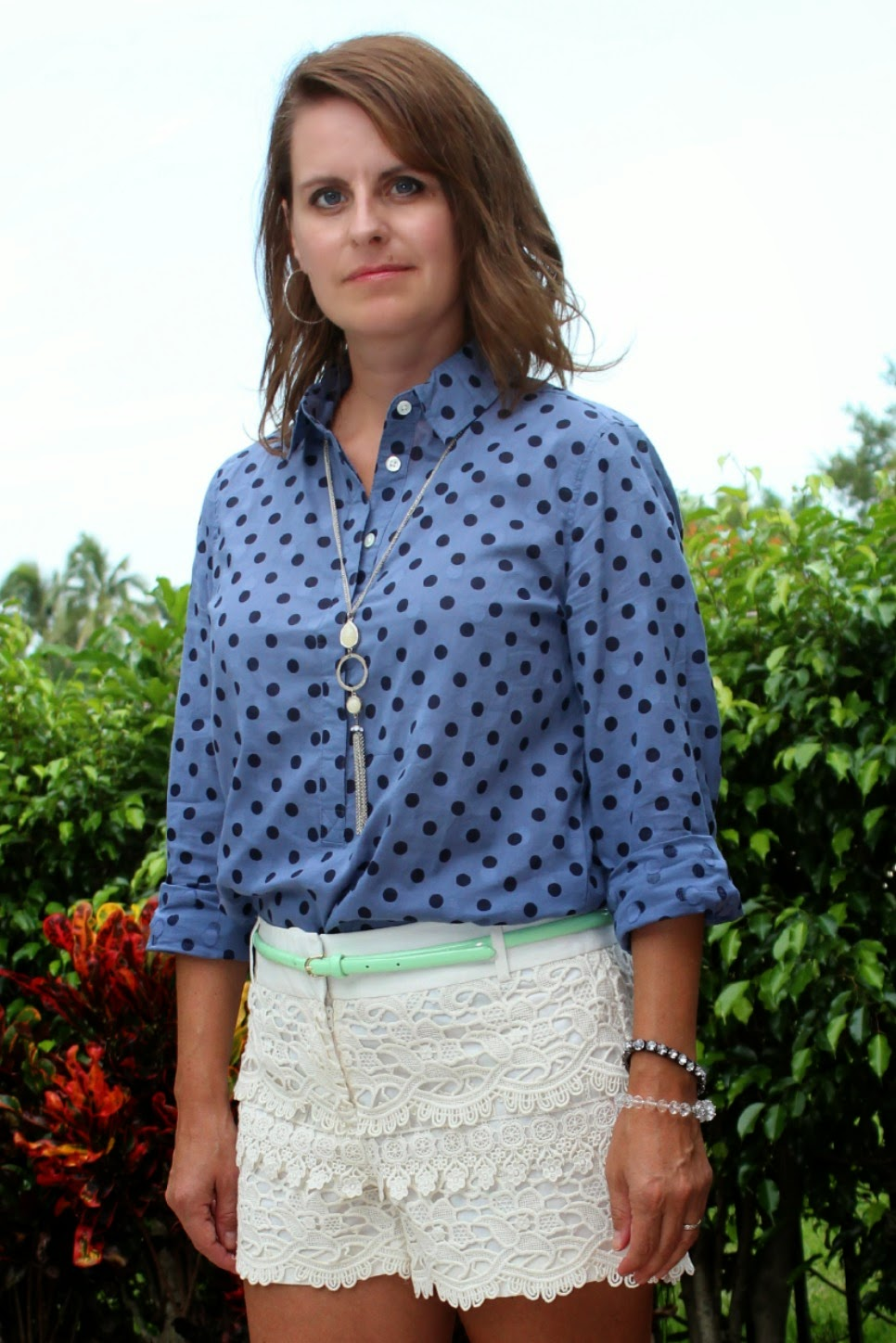 J. Crew Polka dot popover, lace tiered shorts, cork wedges, mint green belt