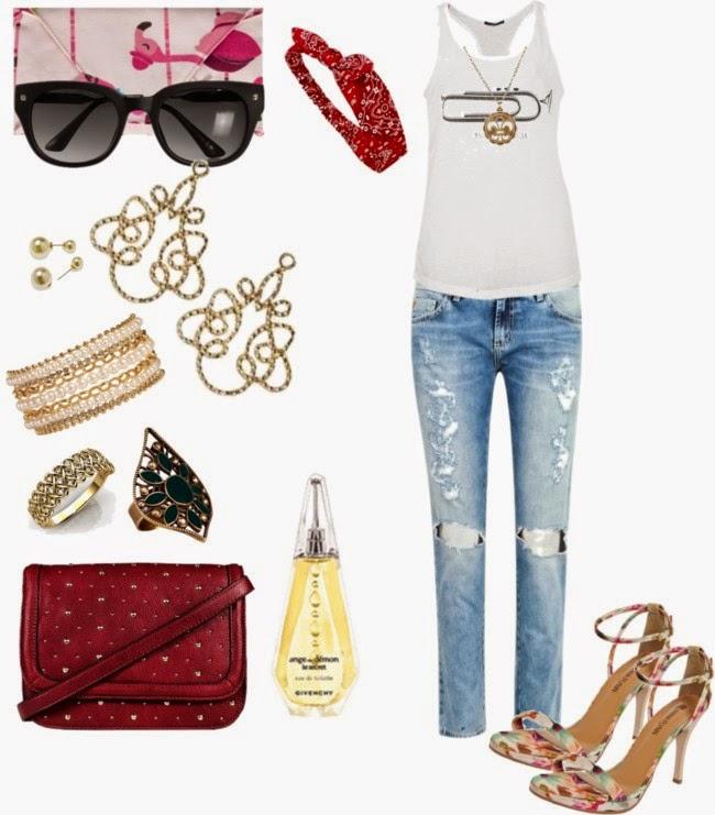 calça jeans feminina-calça destroyed-calça rasgada-moda feminina-roupas da moda-regata femininina branca- regatas femininas - blusas da moda- bolsa tiracolo vermelha-brincos grandes-brincos pequenos-pulseiras - colar longo- salto alto-headband- -oculos de sol - PORTA ÓCULOS FLAMINGOS