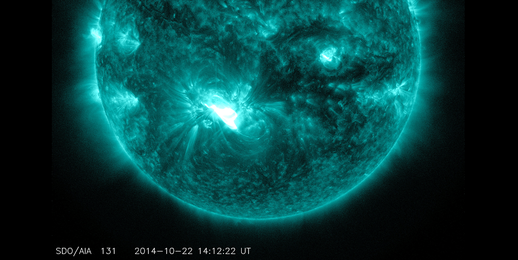 An X1.6 class flare erupted from the lower half of the sun, as seen in the bright flash of light in this image from NASA's SDO. This image shows extreme ultraviolet light with a wavelength of 131 Angstroms, which highlights the intense heat of a solar flare and which is typically colorized in teal. Image Credit: NASA/SDO