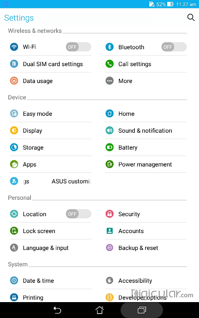 Settings Asus fonepad 7 Android Lollipop