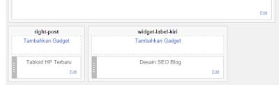 dua buah kolom widget di bawah home page