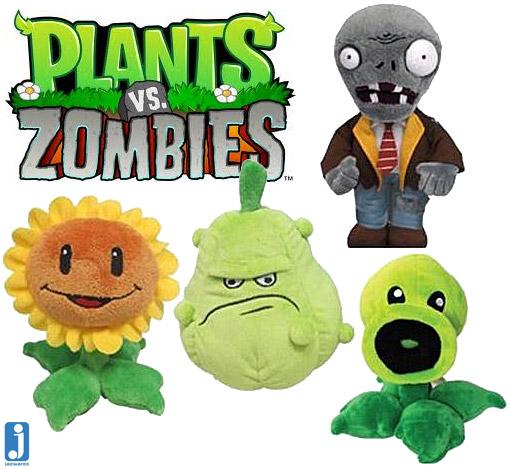 bonecos de pelúcia dos personagens do jogo plants vs zombies