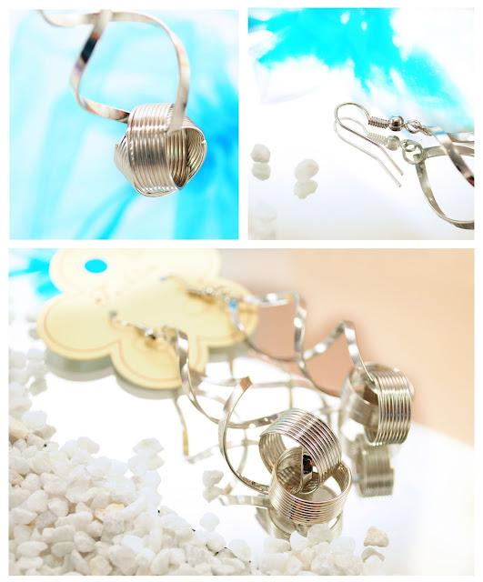 silberfarbene Spiral-Ohrringe