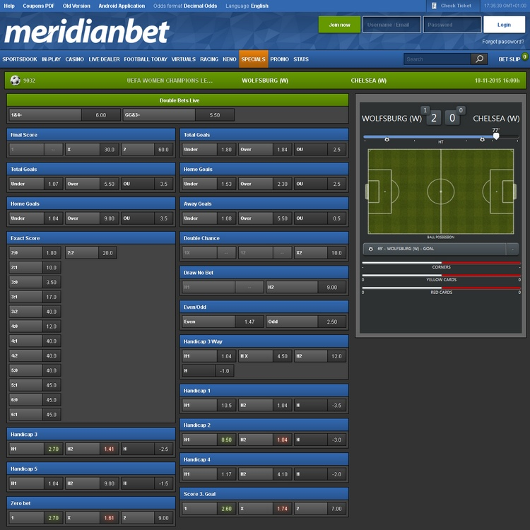 Meridianbet In-play Betting Offers