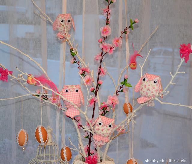 gufi cucito creativo e albero di Pasqua