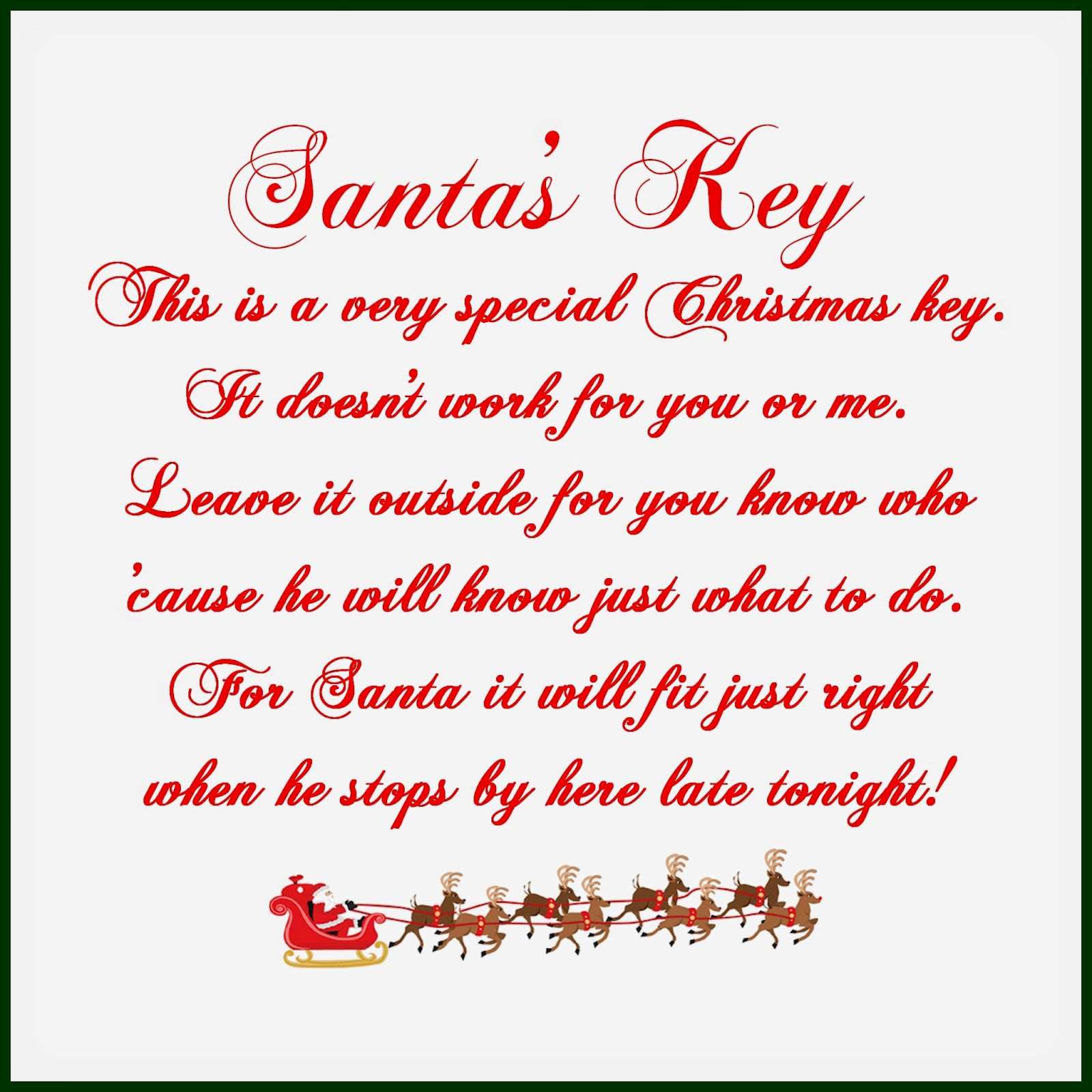 If you'd like to download the card, you can find it here: Santa's Key
