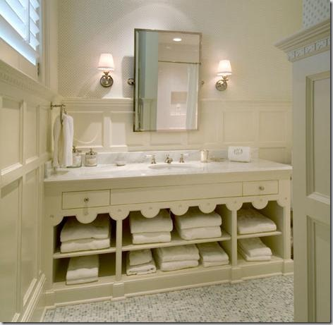 In This Pretty Brooks And Falatico Bathroom, Open Shelving Is A Great And  Pretty Solution To More Than Ample Storage For Bath And Hand Towels