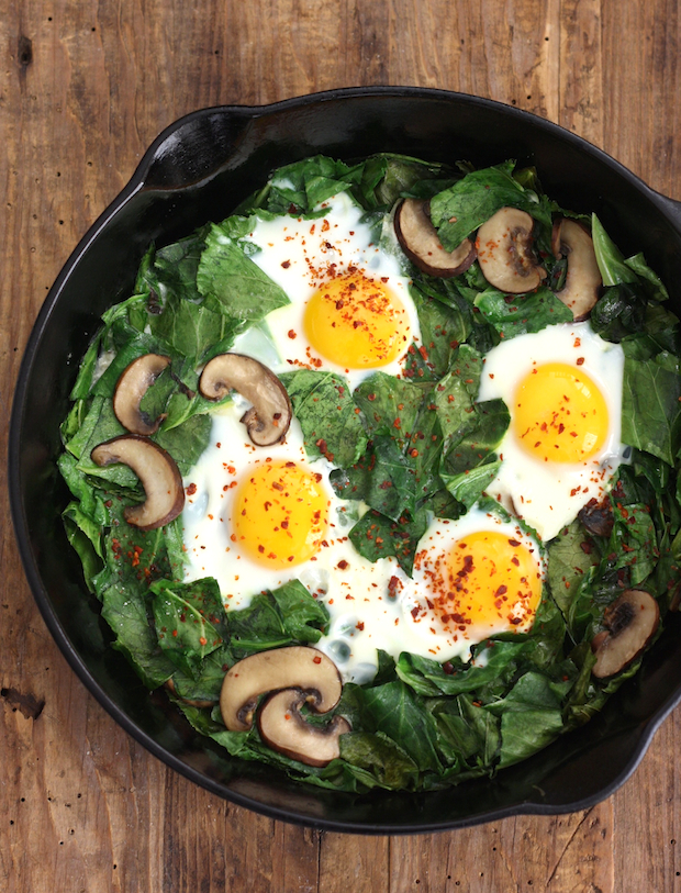Skillet Collards with Mushrooms and Eggs by SeasonWithSpice.com