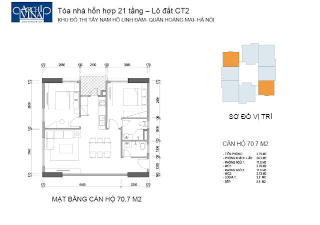 Căn diện tích 70.7 m2 2 phòng ngủ chung cư b1b2ct, b2ct2 tây nam linh đàm
