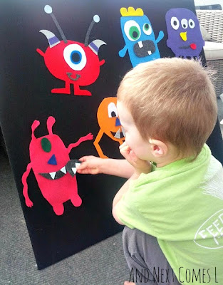 Making monsters on the felt board from And Next Comes L