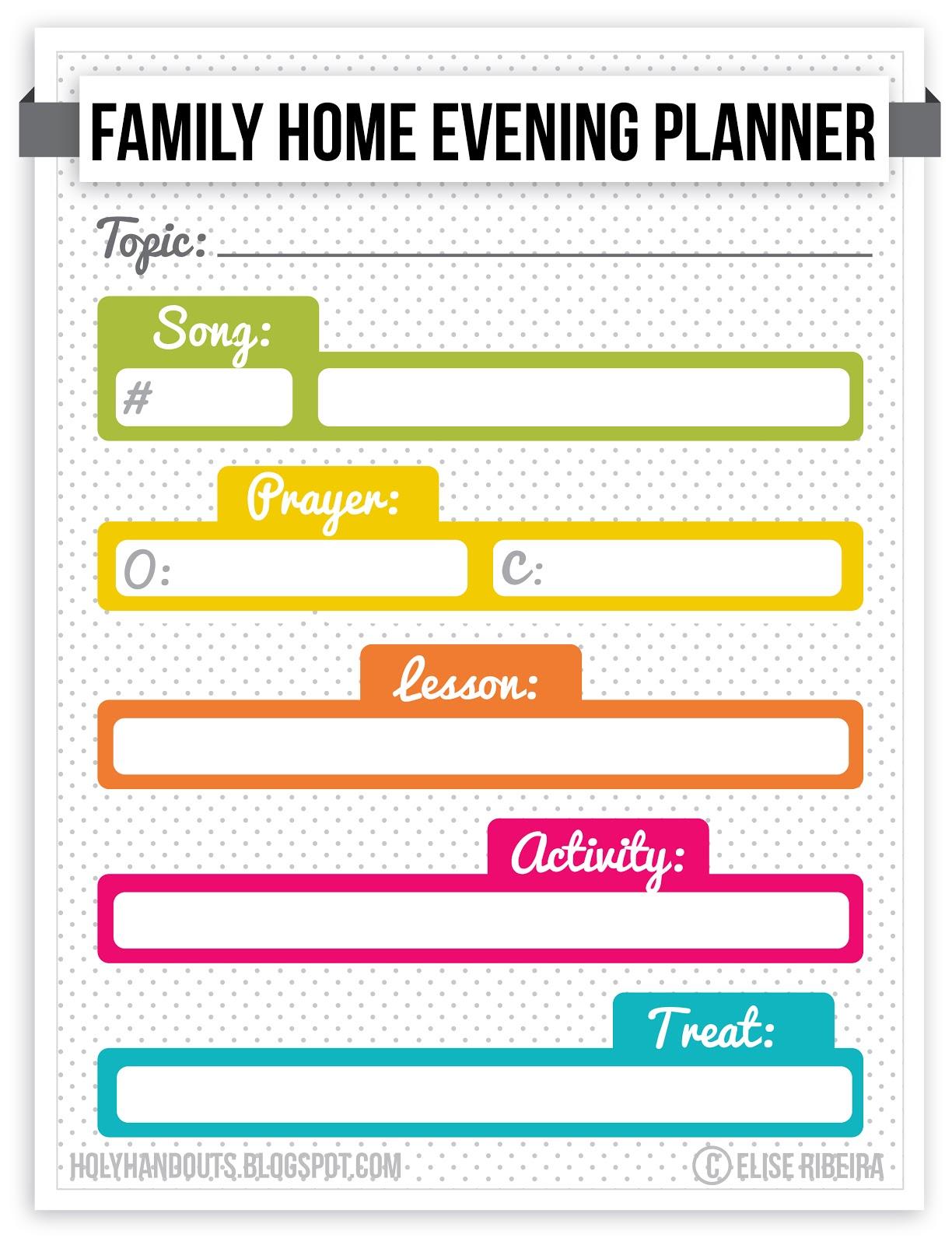 Holy Handouts Family Home Evening Agenda – Family Agenda