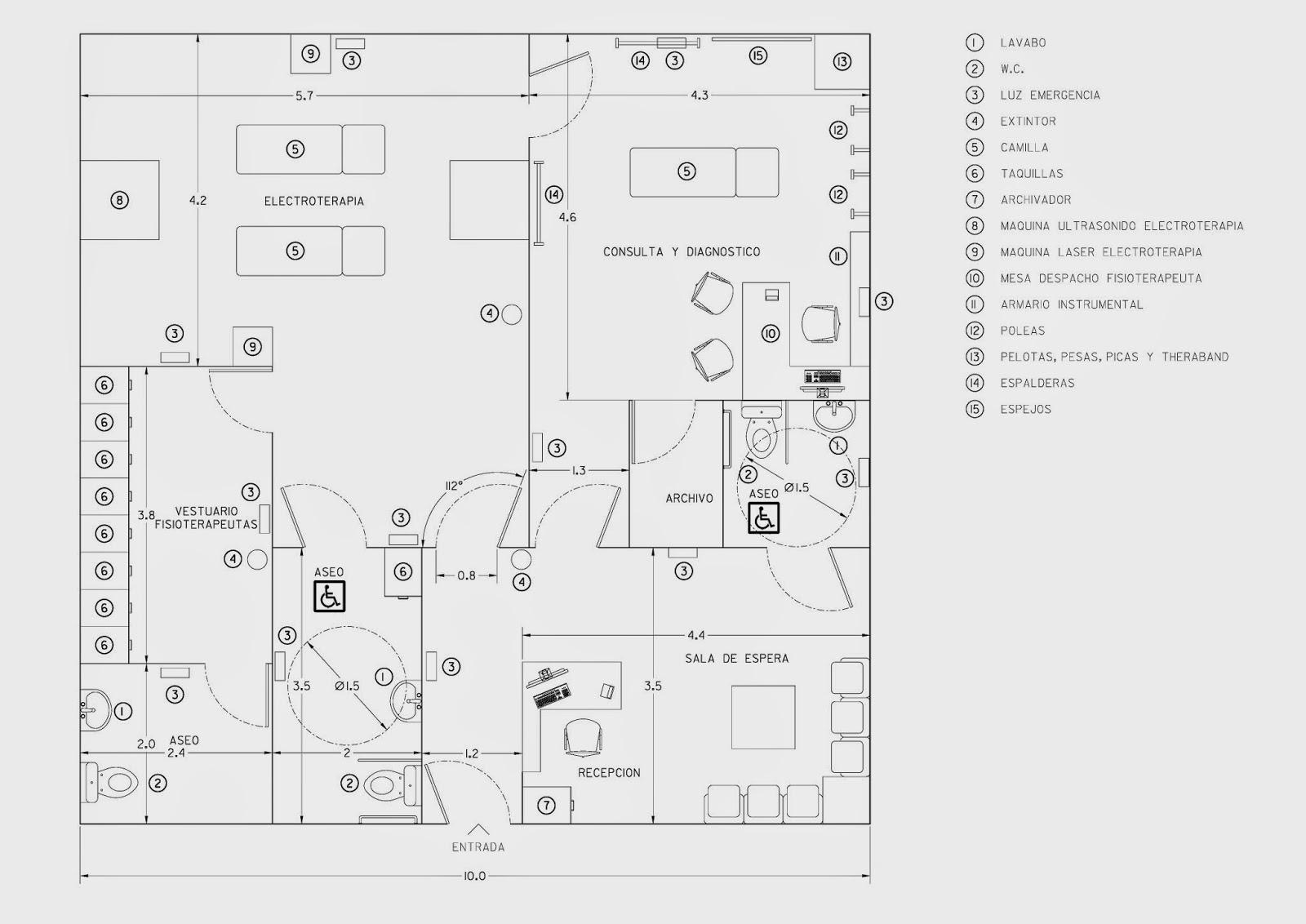 Requisitos Baño Minusvalidos:Las salas y los materiales de la clínica vienen incluidos en el plano