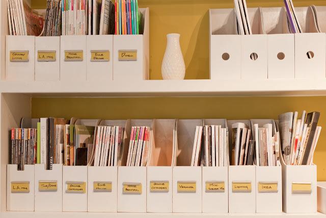 Rosa beltran design diy labeled magazine boxes for Diy magazine box