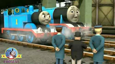 Blue steam locomotive Thomas & friends Gordon the tank engine at shipping freight Brendam docks