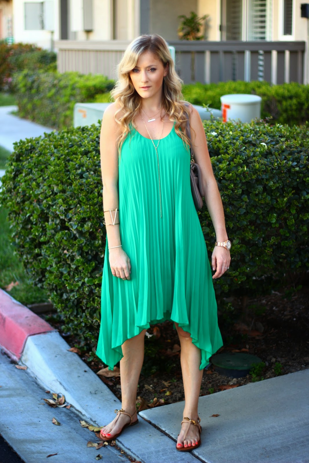 Green Pleated Dress From H&m