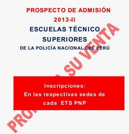 PROSPECTO de ADMISIÓN 2013-II ETS PNP