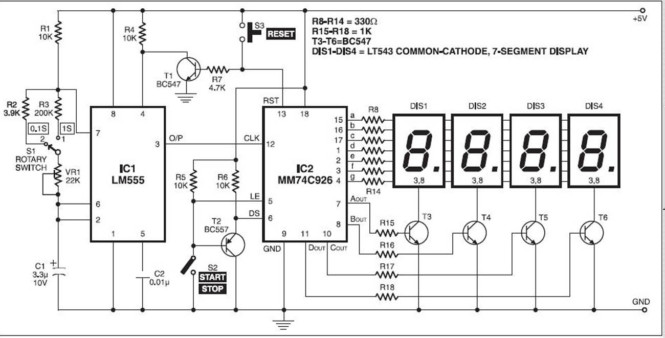 Free Electronic Circuit Collection: Digital Stopwatch With 7-segment ...