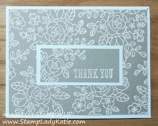 Card made with images from Stampin'UP!'s So Very Grateful Stamp set, embossed in white