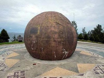 Giant globe: This replica of a globe greets visitors to the area. On it are engraved words briefly explaining the history of Tanjung Simpang Mengayau.