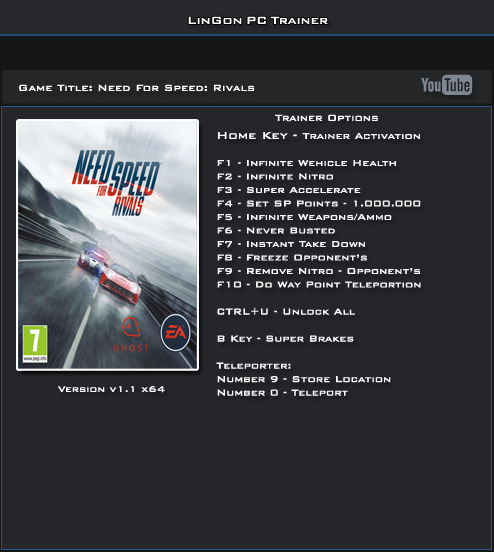 Need For Speed Rivals v1.1 64Bts Trainer +13 [LinGon]