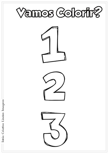 Desenho de números para colorir - Volta às Aulas