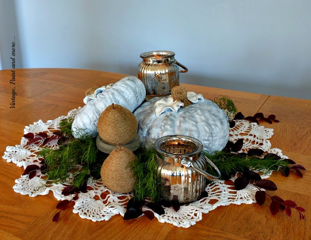 Vintage, Paint and more... blue pumkin centerpiece diy'd with thrifted pumpkins, twine wrapped pears, vintage doily and mercury glass lanterns