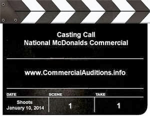 Casting call for National McDonalds Television Commercial