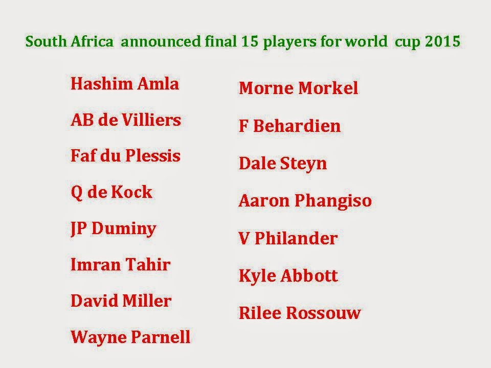 South Africa  Final 15 squad for world cup 2015