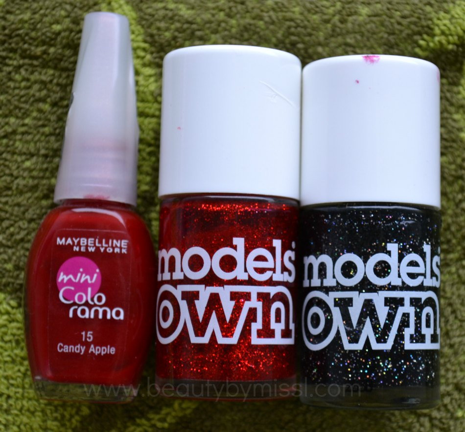 Maybelline mini Colorama Candy Apple, Models Own Scarlet Sparkle, Models Own Mixed Up