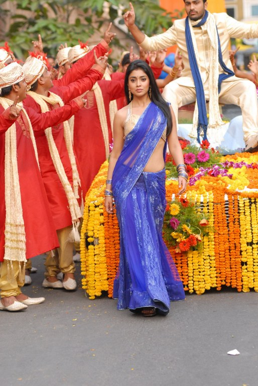 Shriya Saran in blue saree - Shriya Saran Latest Stills