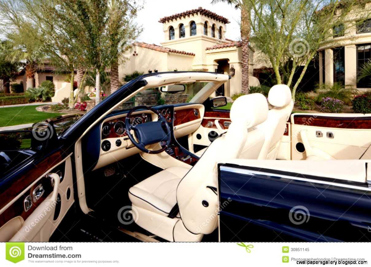 Close up Of Luxury Car With Comfortable Leather Seats Royalty Free