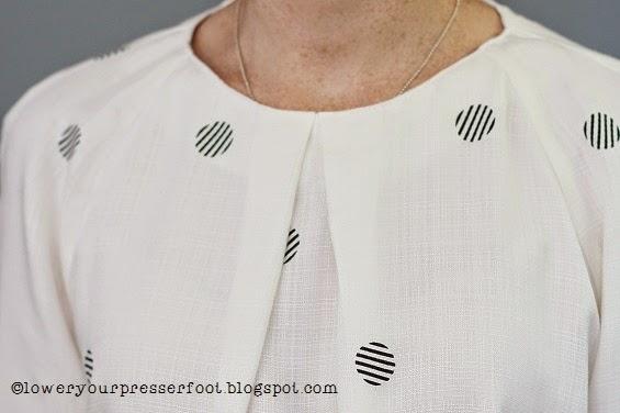 Burda_11_2014_#105_pleat_neck_top_polka_dots