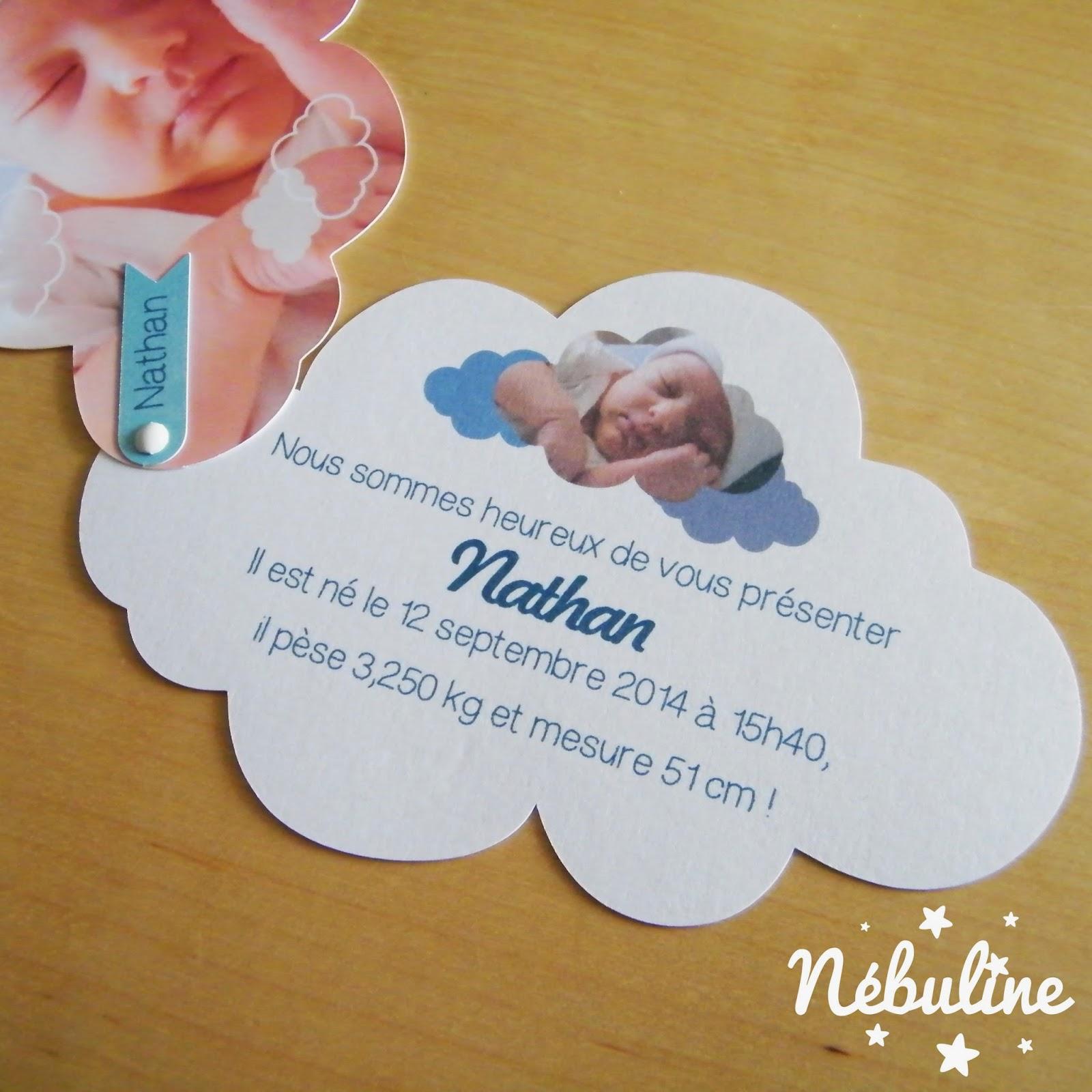 Connu Nébuline Créations: Faire part de naissance nuage fille ou garçon CS12