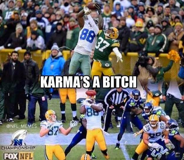 karma's a bitch - #Karmaisabitch #Cowboys #Packershaters #DezBryant #BrandonBostick #NotaCatch