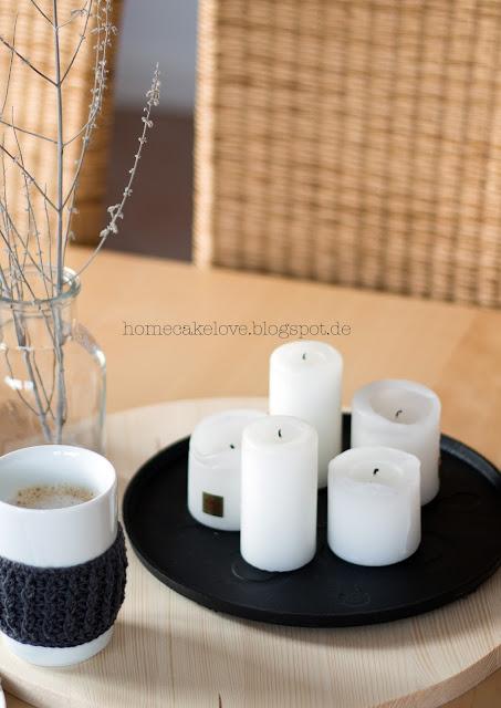 Diy Holztablett selbstgemacht Holztablett rund , Tassenmantel gehäkelt