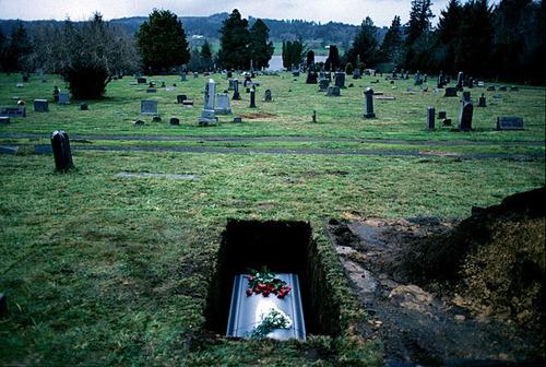 casket in the ground