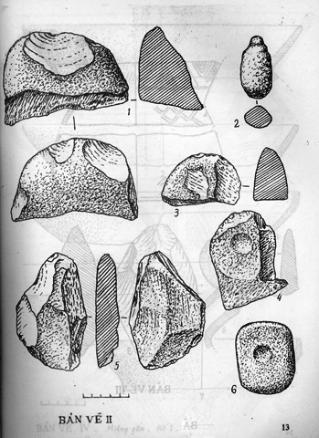 Bản vẽ các di vật đồ đá trong di chỉ khảo cổ Gò Ốc