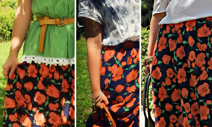 Outfit I wore: My favorite floral printed maxi skirt styled in three different outfits