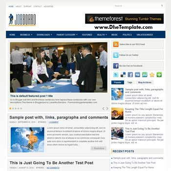 Job Board blog template. template image slider blog. magazine blogger template style. business template for blogger