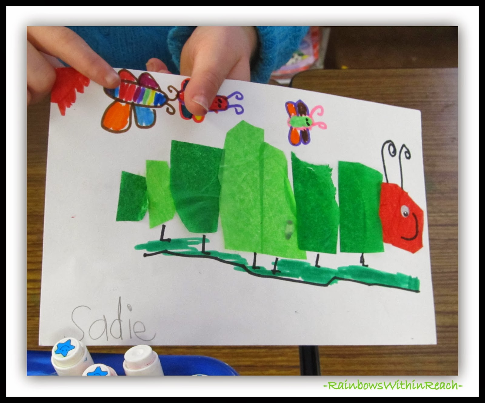 Very Hungry Caterpillar Tissue Paper Art in First Grade via RainbowsWithinReach