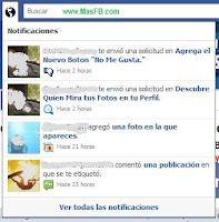 Notificación Facebook Botón No me gusta