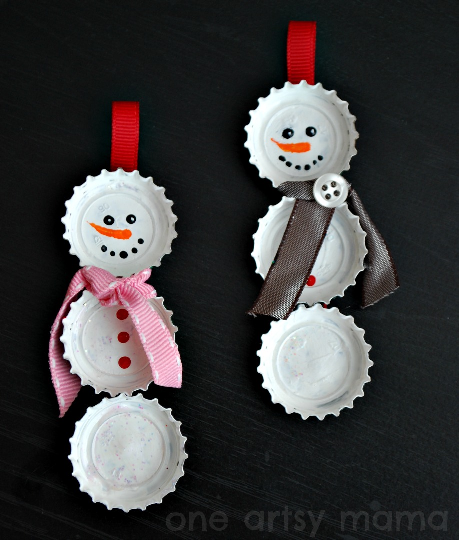 How to make a christmas decor out of recycled materials - Bottle Cap Snowman Ornaments