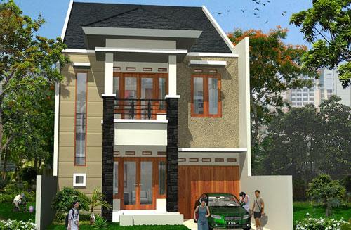 rumah minimalis modern 2 lantai di lahan sempit