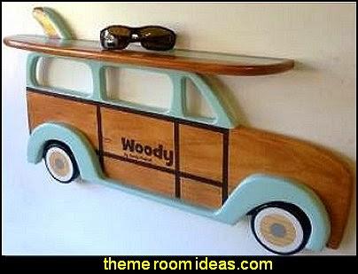 Woody Wagon and Surfboard Shelf